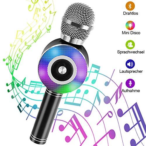 Karaoke Mikrofon, NINECY Bluetooth Mikrofon Kinder, Drahtlose Dynamisches Licht Mikrophon mit Aufnahme...