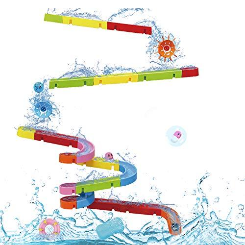 Nuheby Badespielzeug Badewannenspielzeug BAU-Puzzle Autorennbahn-38 Stück Spielzeug Badespaß...