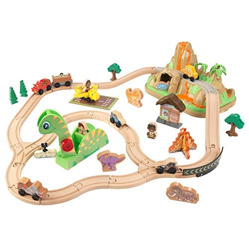 KidKraft 18016 Dinosaur Bucket Top Holzeisenbahn-Set für Kinder mit 56 Spielteilen u.a. Dinosaurier und...