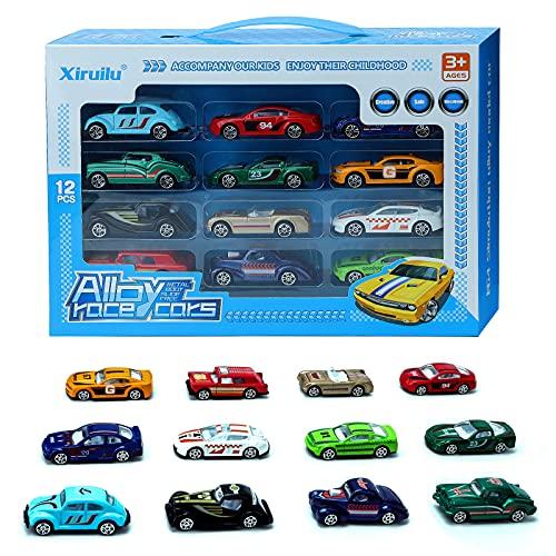 Lekebaby 12 Pack Mini Auto Spielzeug, 1:64 Maßstab Metall Spielzeugautos Set Große Geschenke für...