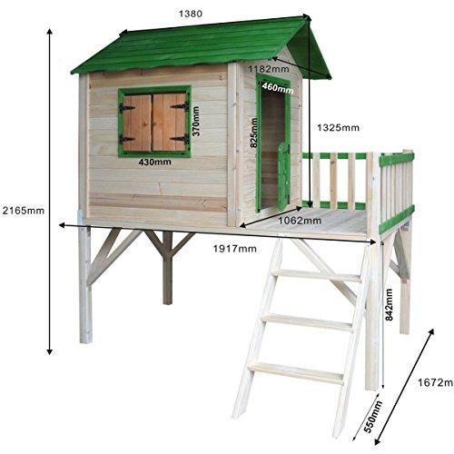 BRAST Spielhaus für Kinder mit Balkon Stelzenhaus'Adventure' 167x191x216cm Kinder-Haus Turm Holz...