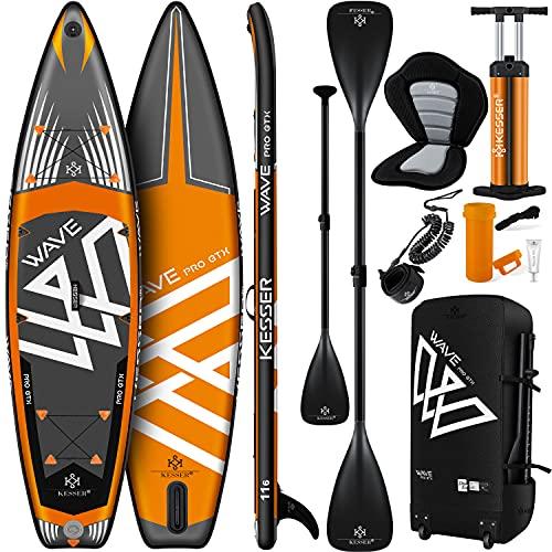 KESSER® Aufblasbare SUP Board Set PRO GTX mit Premium Hochdruckpumpe Transporttasche Stand Up Paddle...