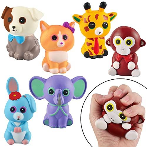 JOYIN 6 Stück Squishy Spielzeug, Tiere Squisies Set Langsam Stressabbau, Soft Squeeze Toys für Kawaii...