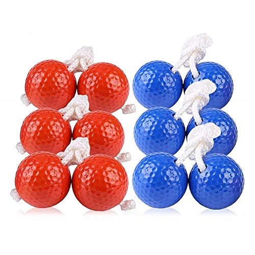 Kaptin 6Pack Leiter Toss Ball Ersatz Leiter Golf Bälle Bolos Bolas mit Echten Golf Bälle (Rot und...
