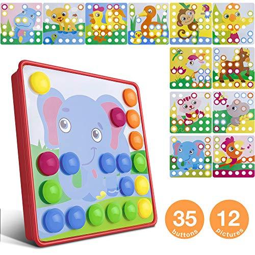 Mosaik Spielzeug, Jooheli Mosaik Steckspiel ab 3 Jahren Kinder, Steckspielzeug Pilz Nagel Puzzle Pegboard...