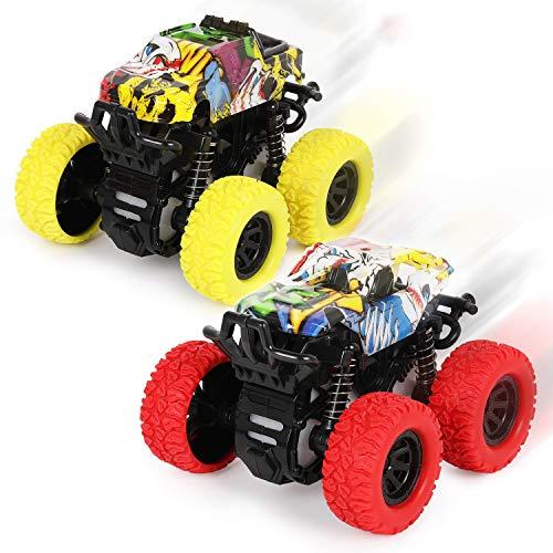2 Stück Monster Truck Spielzeug ab 3 Jahren,Reibungsbetriebene Rennwagen LKW Zurückziehen,360 °...