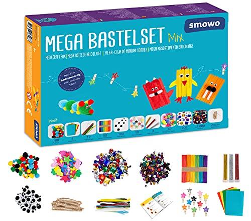 Smowo® Mega Bastelset Starterset - Bastelbox Mix - mit kreativen Bastelideen - Bunte Bastelbedarf Box...