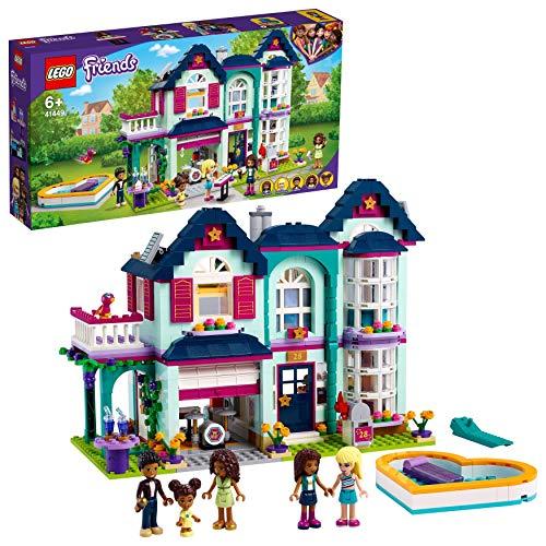 LEGO 41449 Friends Andreas Haus Set, Puppenhaus für Mini Puppen mit Schwimmbad und Musikstudio,...