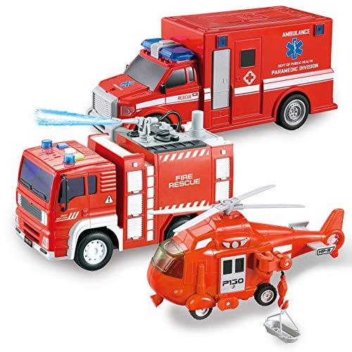 JOYIN 3 in 1 Reibungsgetriebenes Feuerwehr Spielzeug, Rettung Fahrzeug LKW Auto Set mit Hubschrauber,...