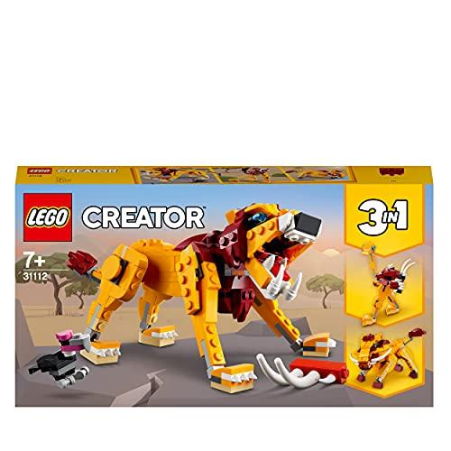 LEGO 31112 Creator 3-in-1 Wilder Löwe, Strauß oder Warzenschwein Set, Konstruktionsspielzeug für...