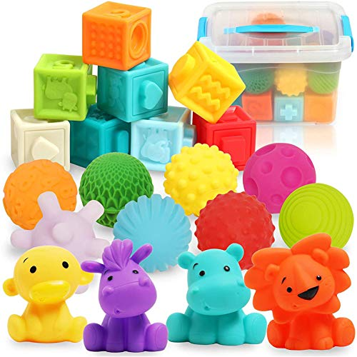 20 STK. Weiche Quetsch Babyspielzeug Set mit Bälle, Bausteine und Tierformen - Montessori Steckklötze...