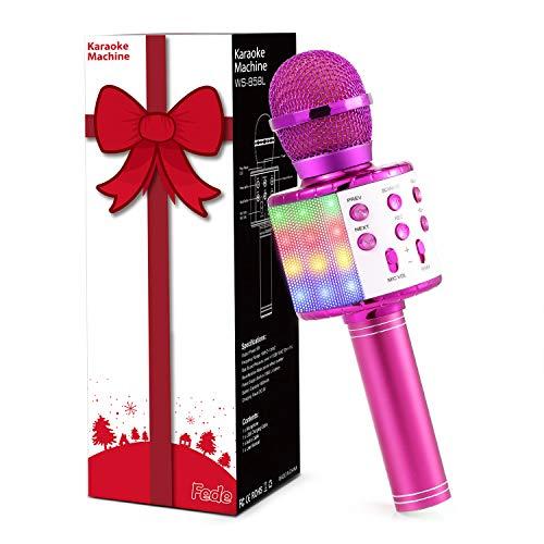 Fede Karaoke Mikrofon, Drahtloses Bluetooth Mikrofon für Kinder, Lustige Geschenke Spielzeug für...