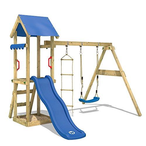 WICKEY Spielturm TinyCabin Kletterturm Spielplatz mit Schaukel und Rutsche, Sandkasten und Strickleiter,...