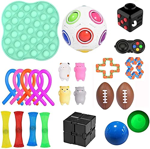 PATISZON 23 Stück Fidget Sensory Toy Set, Sensory Zappeln Anti Stress Spielzeug, Angst Relief Finger...