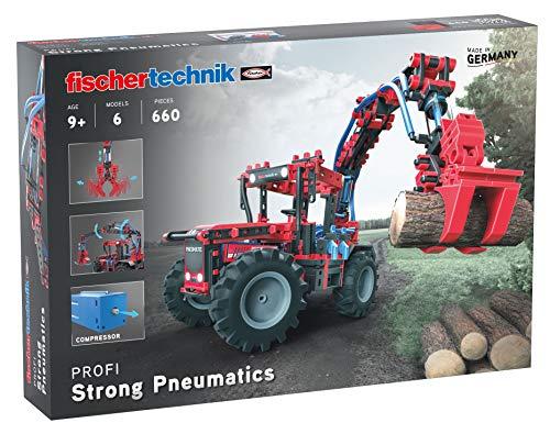 fischertechnik Experimentierbaukasten Strong Pneumatics - das Pneumatik Spielzeug mit Traktor,...