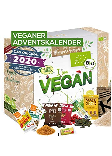 Veganer Adventskalender 2020 BIO-Qualität I tierfreier Adventskalender mit 24 verganen Leckerein für...