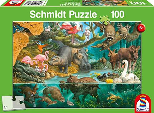 Schmidt Spiele Puzzle 56306 Tierfamilien am Ufer 100 Teile Kinderpuzzle, bunt
