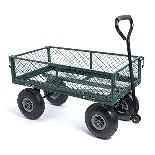 wuuhoo® I Bollerwagen Elton mit abnehmbaren Seiten I Gartenwagen mit Luftreifen I Gitterwagen aus Stahl...