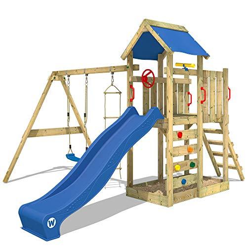 WICKEY Spielturm Klettergerüst MultiFlyer mit Schaukel & blauer Rutsche, Kletterturm mit Sandkasten,...