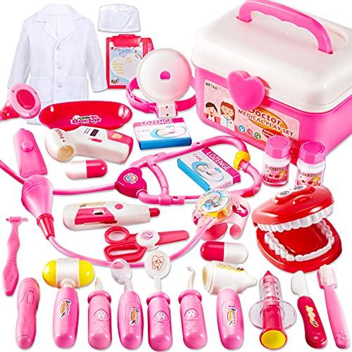 BUYGER 2 in 1 Arztkoffer Medizinisches Doktor Arztkittel Rollenspiel Spielzeug ab 3 Jahre Mädchen Junge...