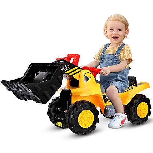 COSTWAY Sitzbagger mit eingebautem Ablagefach, Kinderbagger mit 4 Sound-Tasten, Bagger Spielzeug,...