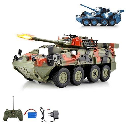 HSP Himoto Leopard RC Ferngesteuerter Kampfwagen Militärfahrzeug Panzer mit Reifen, Schusssimulation und...