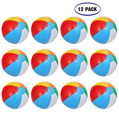 ThinkMax Wasserball Aufblasbar, 12 Stück 10 '' Badeball Schwimmball für Sommer im Freien und Schwimmen...