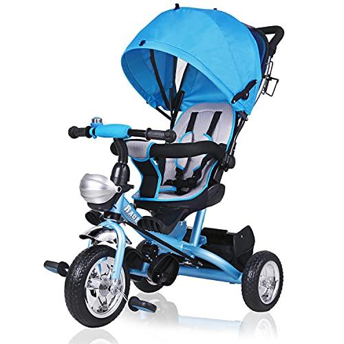 Dreirad Kinderdreirad Blau 5-Punkte Gurt abnehmbares Dach Kinderwagen Fahrrad Kinder Buggy Blau Jungen