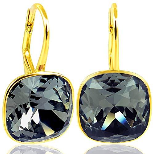 Ohrringe mit Kristalle von Swarovski® Schwarz Gold NOBEL SCHMUCK