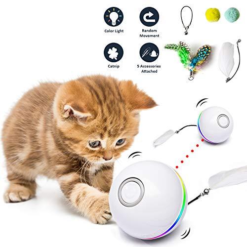 Fairwin Interaktives Katzenspielzeug Ball, Ball Mit LED-Licht und Katzenminze-Spielzeug für den...
