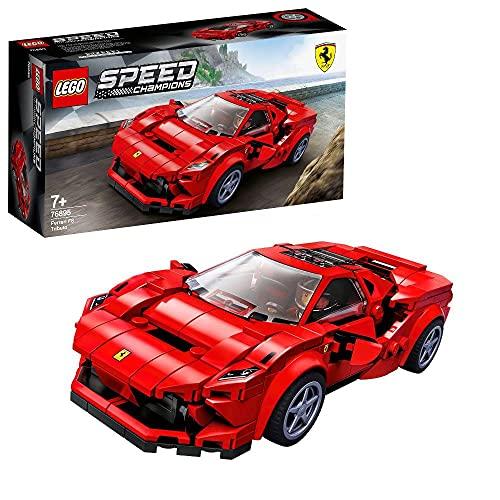Lego 76895 Speed Champions Ferrari F8 Tributo Rennwagenspielzeug mit Rennfahrer Minifigur, Rennwagen...
