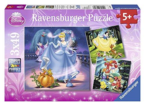 Ravensburger Kinderpuzzle 09339 - Schneewittchen, Aschenputtel, Arielle - 3 x 49 Teile