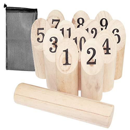 WELLGRO finnisches Wurfspiel 14-TLG. - für 2-8 Spieler, massiv Holz, Wikingerspiel inkl. Spielanleitung...