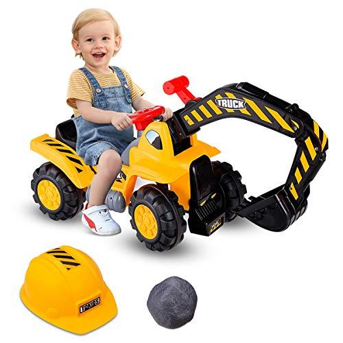 COSTWAY Sitzbagger mit eingebautem Ablagefach, Kinderbagger mit Horn, Bagger Spielzeug, Sandbagger,...