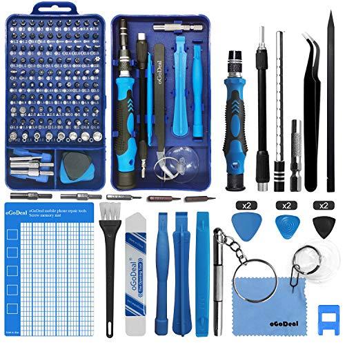oGoDeal 127 in 1 Mini Feinmechaniker Schraubendreher Werkzeug Set und öffnungswerkzeug für iPhone, PC,...