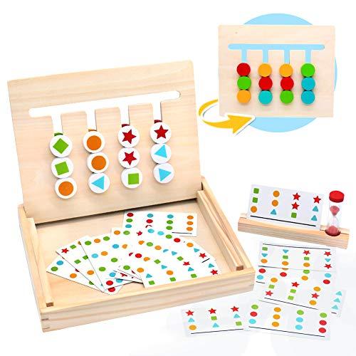 MontessoriSpielzeug Holz Puzzle Sortierbox Kinder Lernspielzeug mit Sanduhr ab 3 4 5 Jahre alte...