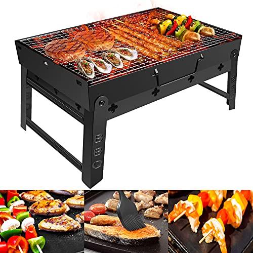 Holzkohlegrill GolWof Faltbare BBQ Grill Picknickgrill Tragbarer Holzkohlegrill Edelstahl Campinggrill...