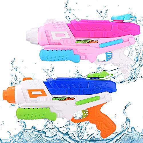 EPCHOO Wasserpistole, 2er Pack Wasserblaster mit blau und Rosa, 1000ml Groß Water Blaster Water Gun...