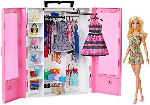 Barbie GBK12 - Tragbarer Kleiderschrank mit Kleiderbügel inkl. Puppe, Puppenzubehör und Puppen...