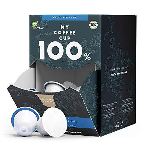 My Coffee Cup – MEGA BOX LUNGO CAFFÈ CREMA – BIO-KAFFEE I 100 Kaffeekapseln für...