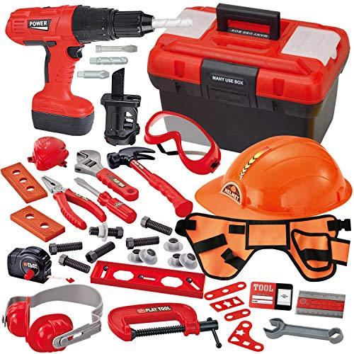 JOYIN 40-teiliges Werkzeugkoffer, Kinder Werkzeug Set Spielwerkzeug Rollenspielwerkzeug , Kit-Spielset...