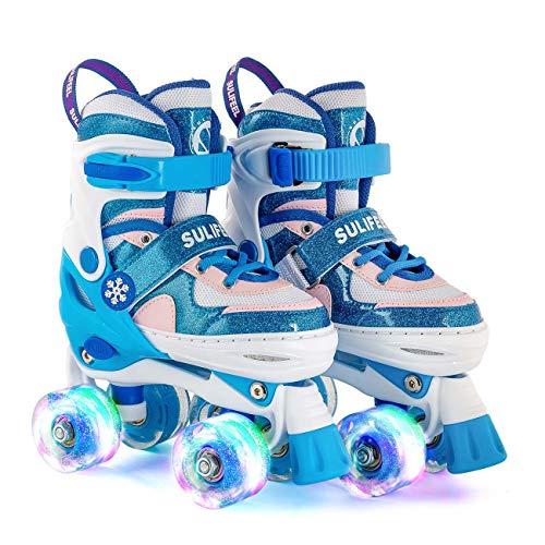 Sulifeel Ice Snow Verstellbar Rollschuhe für Kinder mit Leuchtenden Rädern Roller Skates für Mädchen...