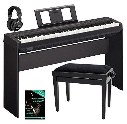 Yamaha P-45B Digitalpiano/Stagepiano SET inkl. Ständer, Bank, Kopfhörer, Schule (88 Tasten, 64 Stimmen,...