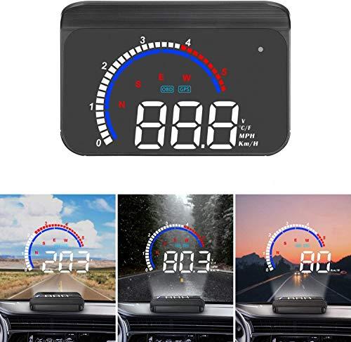 SUPAREE Head up Display Universelles digitales Auto HUD Display OBD2 / GPS-Dual-System, Auto Tachometer...