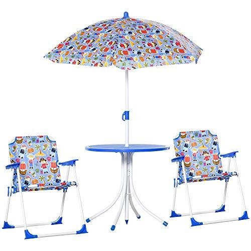 Outsunny 4tlg. Kindersitzgruppe Gartentisch 2 Klappstühle Sonnenschirm Camping Kindersitzgarnitur...