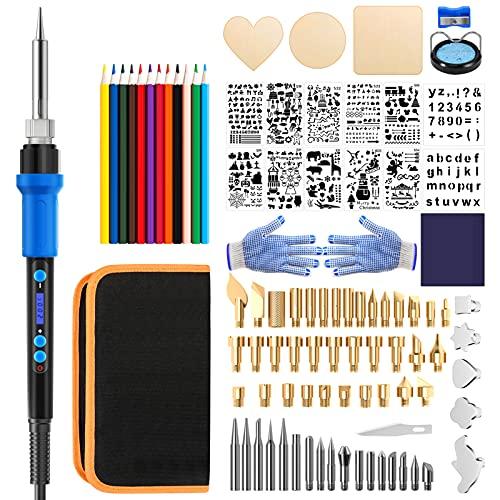 LONOVE 110PCS Brandmalerei Lötkolben Set,LED Anzeige,Schablonen Buchstaben und Farbige Buntstifte,20W,...