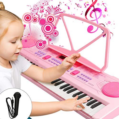 WOSTOO Kinder Keyboard, Multifunktions Digital Piano 61 Tasten Keyboard Set mit Mikrofon Notenständer...