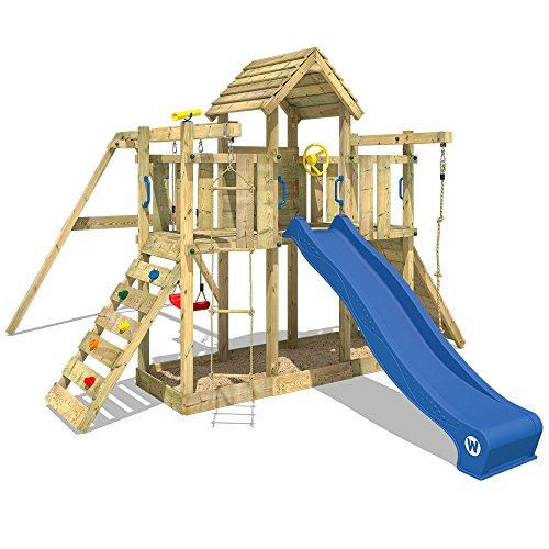 WICKEY Spielturm Klettergerüst Smart Twister mit Schaukel & blauer Rutsche, Kletterturm mit Sandkasten,...