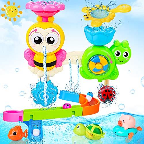 LETOMY Baby Badespielzeug, Badewannenspielzeug mit Schienen, Wandspielzeug Wasserspray & Spin,...
