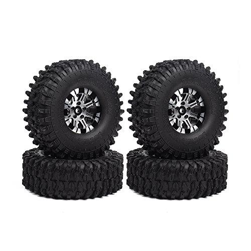 INJORA 1,9 RC Crawler Reifen Set mit Beadlock Felgen 4Pcs Tires mit Räder für 1/10 RC Crawler Traxxas...